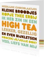 Uitnodigingen - Uitnodiging High Tea Letters Thee