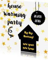 Uitnodigingen - Uitnodiging house warming ster