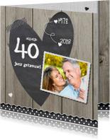 Jubileumkaarten - uitnodiging hout design - krijtbord hart