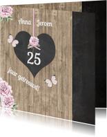 Jubileumkaarten - Uitnodiging hout jubileum