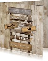 Uitnodigingen - Uitnodiging houtprint - SG