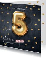 Jubileumkaarten - Uitnodiging huwelijk jubileum 5 jaar ballon