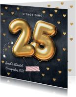 Jubileumkaarten - Uitnodiging huwelijk jubileumfeest 25 jaar ballon