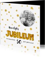 Jubileumkaarten - Uitnodiging huwelijks jubileum ballonnen goud