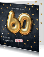 Jubileumkaarten - Uitnodiging huwelijksjubileum 60 jaar ballon