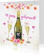 Jubileumkaarten - Uitnodiging huwelijksjubileum champagne aquarelbloemen