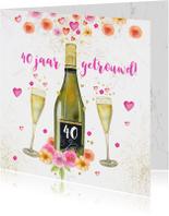 Uitnodiging huwelijksjubileum champagne aquarelbloemen