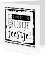 Uitnodigingen - Uitnodiging in zwart-wit feestje-IP