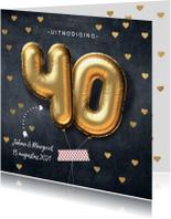 Jubileumkaarten - Uitnodiging jubileum 40 jaar ballon