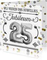 Jubileumkaarten - Uitnodiging jubileum confetti SG