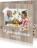 Jubileumkaarten - Uitnodiging jubileum foto bloemen