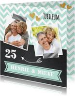 Jubileumkaarten - Uitnodiging jubileum fotocollage mint