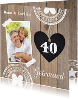 Jubileumkaarten - Uitnodiging jubileum hout foto hartje