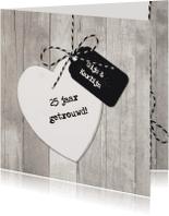 Jubileumkaarten - Uitnodiging Jubileum Hout Hart Wit
