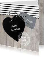 Jubileumkaarten - Uitnodiging Jubileum Hout Strepen Hart