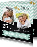 Jubileumkaarten - Uitnodiging jubileum mint foto krijtbord