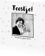 Jubileumkaarten - Uitnodiging jubileum zwart-wit