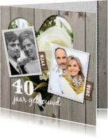 Jubileumkaarten - Uitnodiging jubileumkaart 40 jaar - bloemen hart