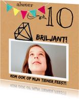 Kinderfeestjes - Uitnodiging karton tiener meid