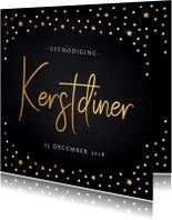 Uitnodiging kerstdiner gouden confetti krijtbord