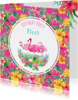Kinderfeestjes - Uitnodiging kinderfeestje flamingo en tropische bloemen