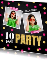 Kinderfeestjes - Uitnodiging kinderfeestje foto confetti roze