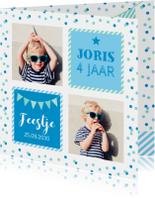 Uitnodiging kinderfeestje foto vakken blauw