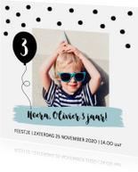 Kinderfeestjes - Uitnodiging kinderfeestje jongen confetti ballon
