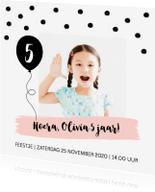 Kinderfeestjes - Uitnodiging kinderfeestje meisje confetti ballon - LB