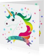 Kinderfeestjes - Uitnodiging met eenhoorn en sterren