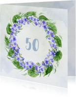 Uitnodigingen - Uitnodiging met krans van viooltjes