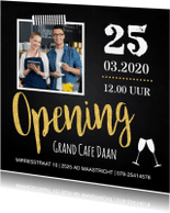 Uitnodigingen - Uitnodiging opening foto krijtbord goud