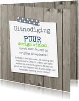 Uitnodigingen - Uitnodiging openingskaart met hout design