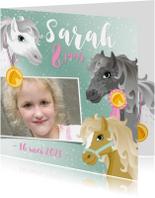 Kinderfeestjes - Uitnodiging paarden meisje roze eigen foto