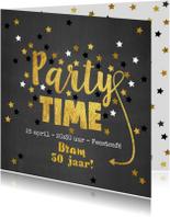 Uitnodigingen - Uitnodiging Party-Time kaart krijtbord en sterren goud