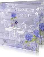 Uitnodigingen - uitnodiging pensioenfeest tuin