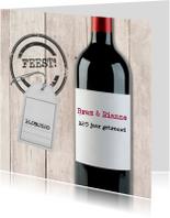 Jubileumkaarten - Uitnodiging rode wijn met label