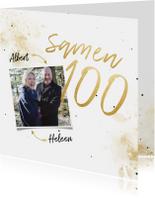 Uitnodiging 'samen 100' met spetters en foto