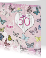 Uitnodigingen - Uitnodiging Sarah vintage vlinders