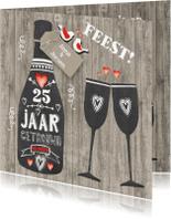 Jubileumkaarten - Uitnodiging schoolbordfles