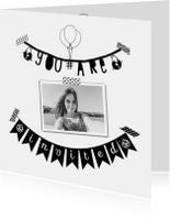 Uitnodigingen - Uitnodiging slinger foto  - B