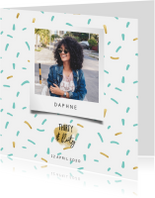 Uitnodigingen - Uitnodiging thirty & flirty met polaroid foto en confetti