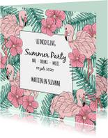 Uitnodigingen - Uitnodiging tuinfeest tropical flamingo's