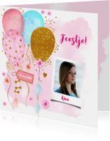Uitnodigingen - Uitnodiging verjaardag ballonnen