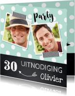Uitnodigingen - Uitnodiging verjaardag fotocollage mint dots