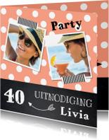 Uitnodigingen - Uitnodiging verjaardag fotocollage stippen roze krijtbord