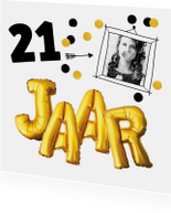 Uitnodigingen - Uitnodiging verjaardag  fotokaart leeftijd aanpasbaar
