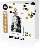 Uitnodigingen - uitnodiging verjaardag grote confetti goud zwart