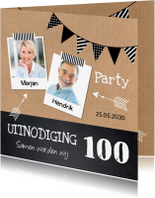 Uitnodigingen - Uitnodiging verjaardag kraft krijtbord foto slinger