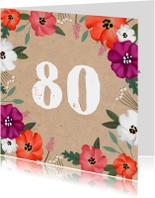 Uitnodigingen - Uitnodiging verjaardag kraftlook met vrolijke bloemen